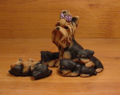 Yorkie Yorkshire Terrier Dog Sculpture Claydogz Mandyo
