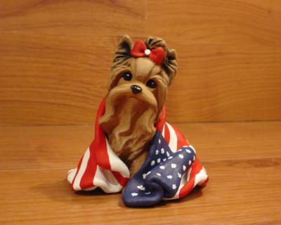 Original Yorkie Yorkshire Terrier Dog Sculpture Claydogz Mandyo OOAK