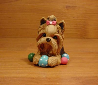 Original Yorkie Yorkshire Terrier Ball Dog Sculpture Claydogz Mandyo OOAK