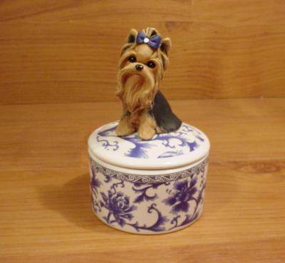Original Yorkie Yorkshire Terrier Box Dog Sculpture Claydogz Mandyo OOAK