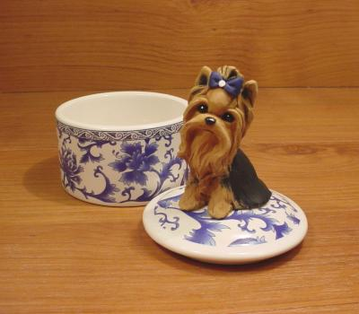 Original Yorkie Yorkshire Terrier Box Dog Sculpture Claydogz Mandyo OOAK