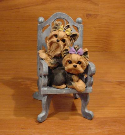 Original Yorkie Yorkshire Terrier Chair Dog Sculpture Claydogz Mandyo OOAK