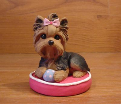 Original Yorkshire Terrier Bed Dog Sculpture Claydogz Mandyo OOAK